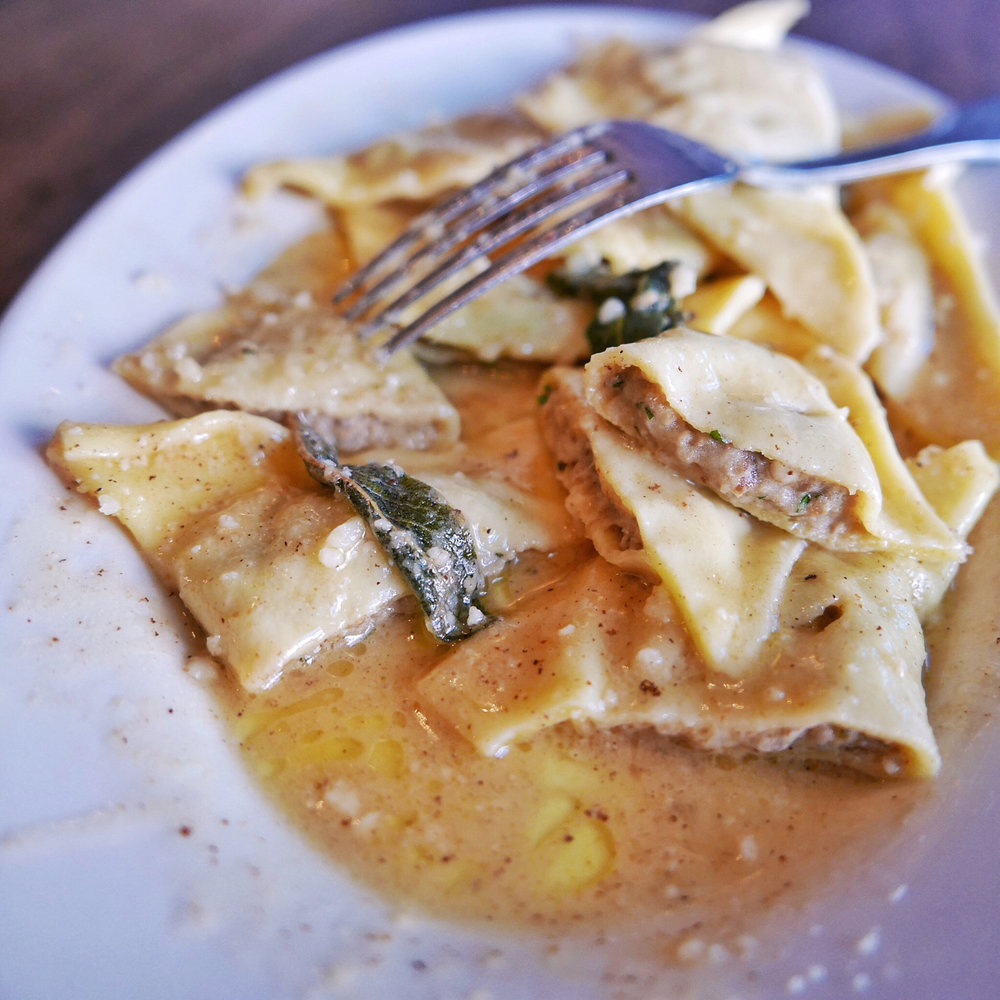 Potato and Porcini Ravioli in Brown Butter and Sage Sauce