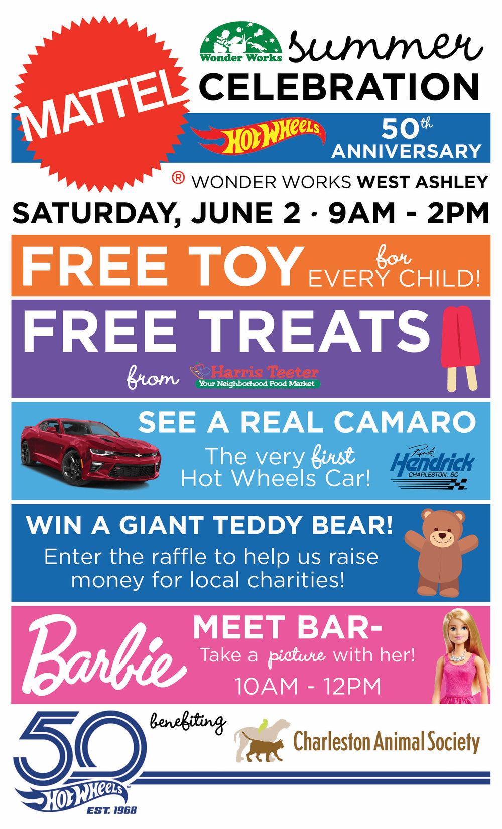 Mattel Summer Celebration at Wonder Works West Ashley.