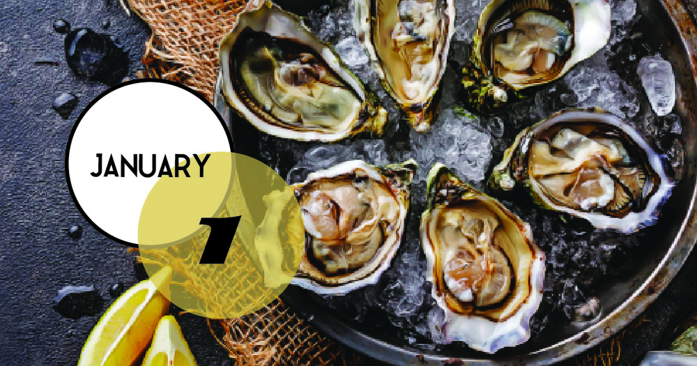 Oyster Roast at the Tides on Folly Beach. Enjoy music and drink specials starting at noon, January 1.