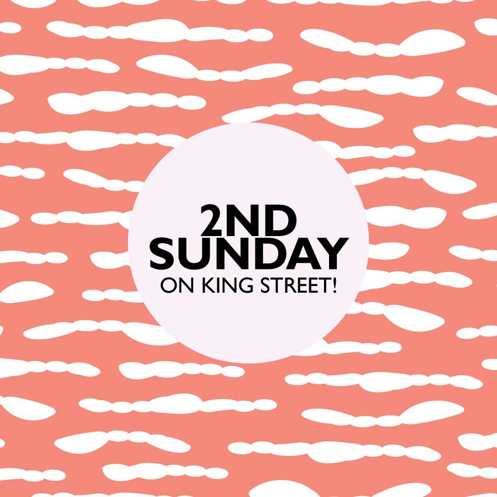 2nd Sunday on King Street, Charleston, SC. Join us January 13th 1-5 PM. Shopping and socializing.