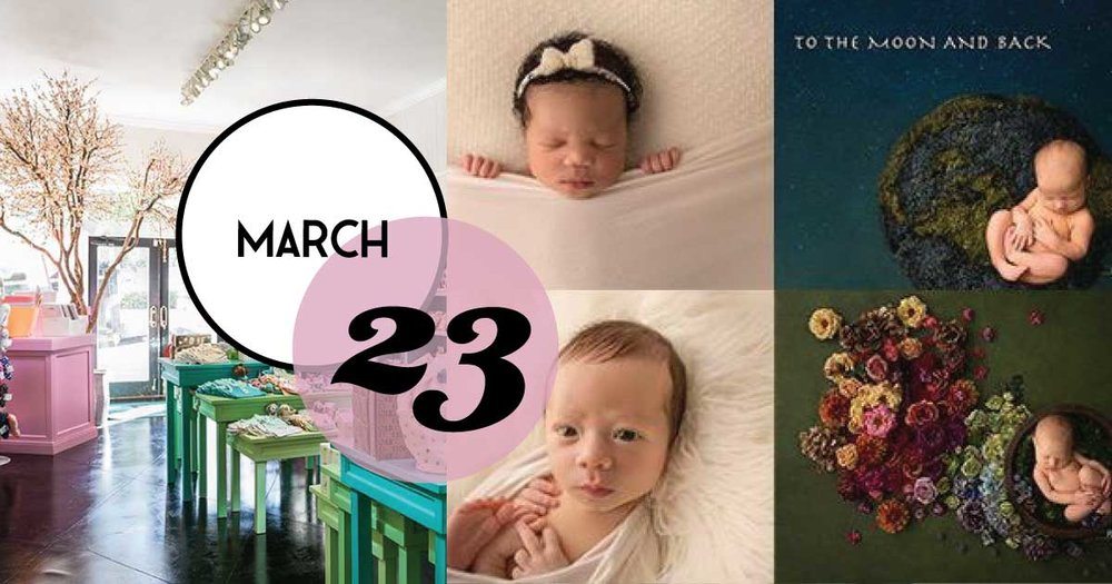 On Saturday, March 23 at 10:00 am, Under The Almond Trees is hosting Selena Stoney, an award-winning newborn, children and family photographer!