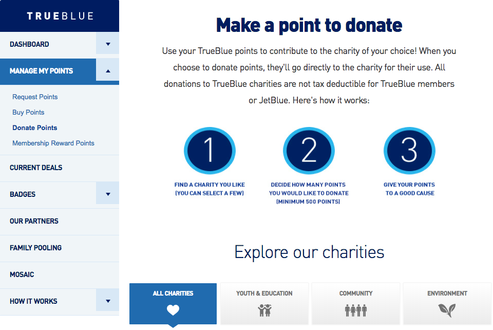 ABOVE:  Donate your points to charity with JetBlue.com