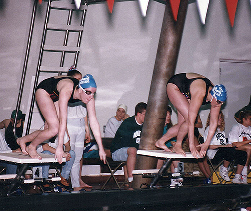 College swim meet. I'm the one on the left with the faster start off the blocks. :)