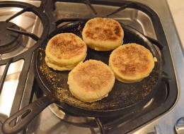 Browning English muffins.