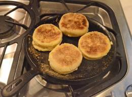 Browning English muffins.