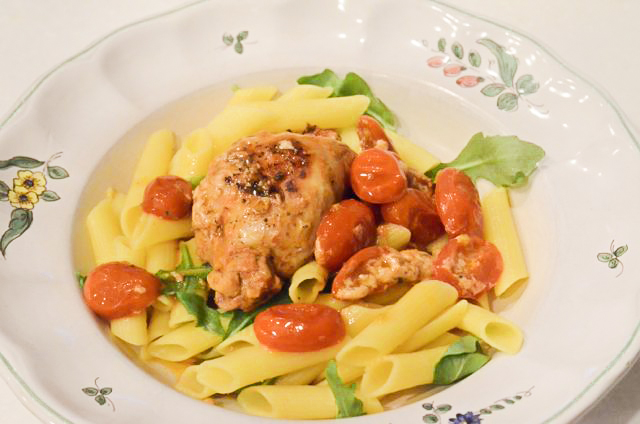 Caprese Chicken with Penne Pasta and Arugula