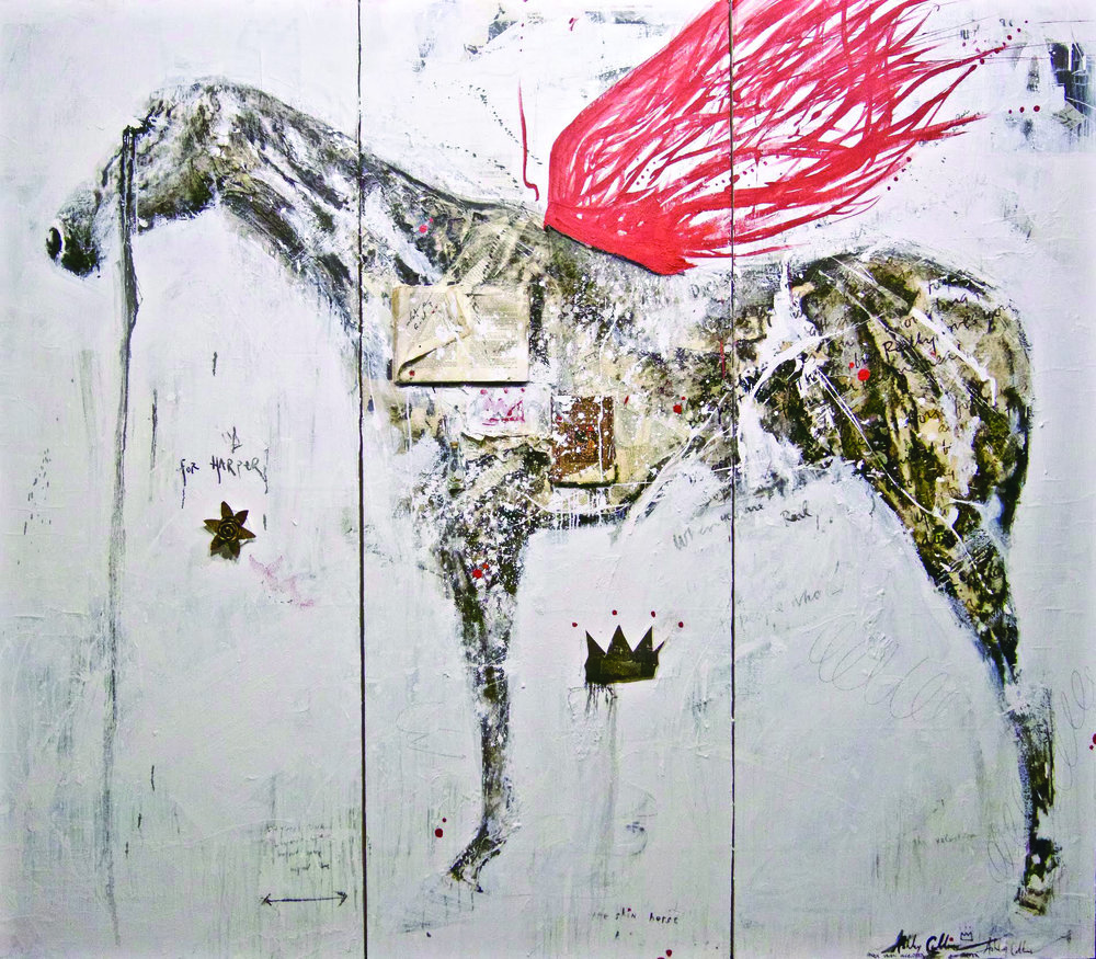 """Ashley Collins, Warrior Wings, mixed media oil and acrylic, book pages, historical objects, metal on wood, 84""""x 96"""""""
