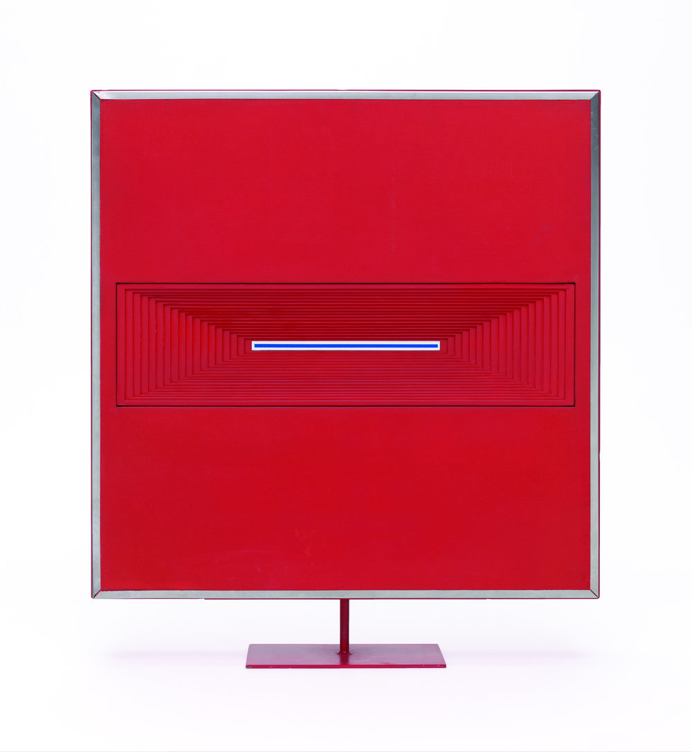 Lompoc, 1963 Lacquer, wood, chipboard, Plexiglas, and stainless steel 23 ¼ x 20 ¼ x 4 5/8 inches San Francisco Museum of Modern Art, Gift of Robert and Naomi Lauter