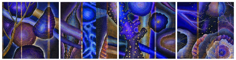 """Unforeseen I-IV, acrylic on acrylic panel, 30"""" x 30"""" each"""
