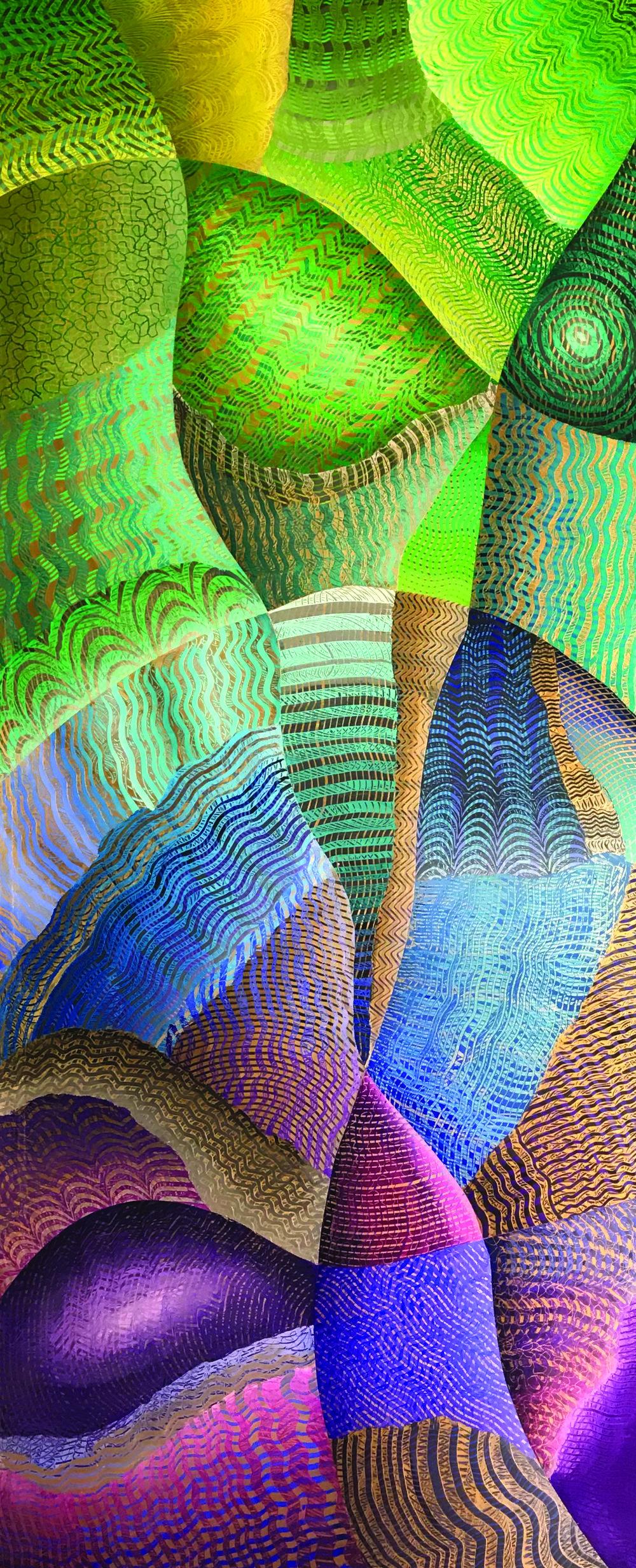 """Gaia, acrylic on acrylic panel, 72"""" x 30"""""""