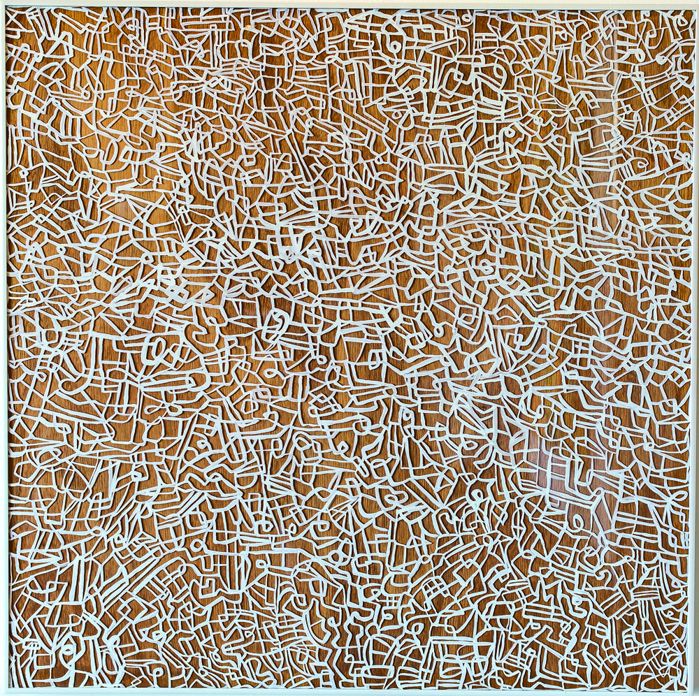 Not lost 2, oil on plexiglass, glue on wood panel, 36x36