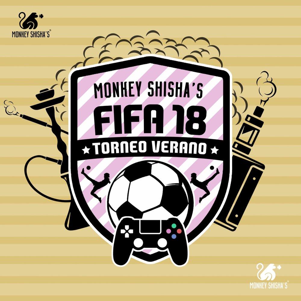 Imagen promocional del torneo  FIFA 18  de  Play Station 4  que realizará  Monkey Shisha's  durante el mes de  Agosto 2018 .