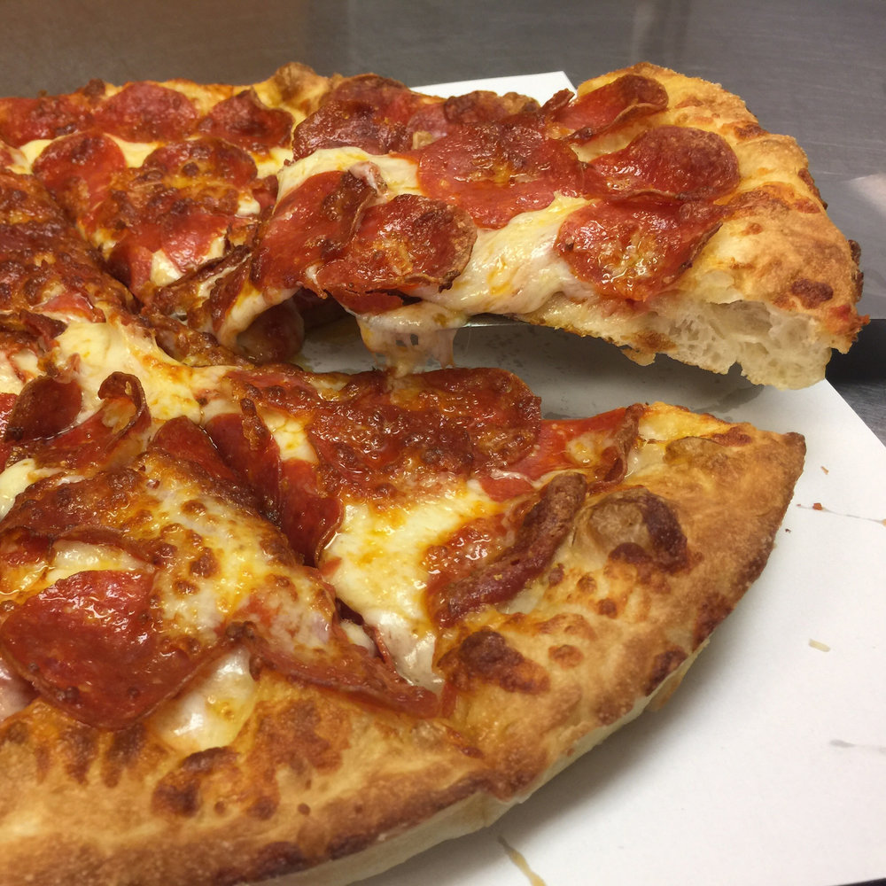 the piperoni   This thick and tasty pizza is available in medium and large round pans and is topped with double pepperoni because sometimes simple is better,    Medium 12.79      Large 14.77