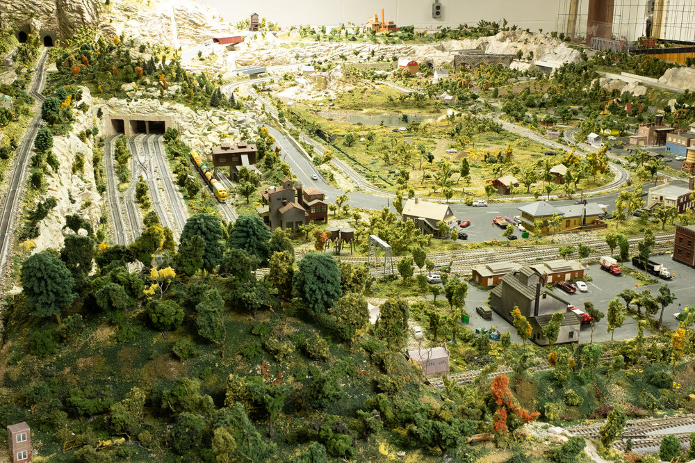 Looking north into the layout. The hill at lower left is removable.