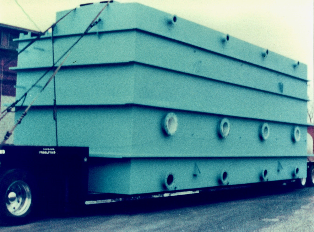 An early water treatment tank built by NMF in the historic  Chicago, St. Paul, Minneapolis and Omaha  Railroad car repair shops.