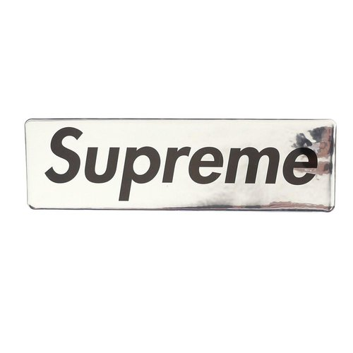 Supreme metallic silver box logo sticker