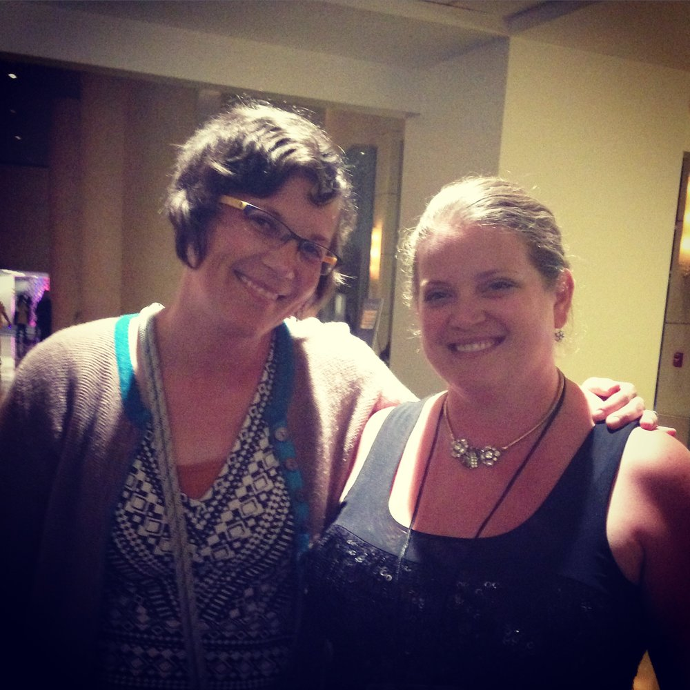 Meridth and I meeting in person for the first time. SCBWI LA Summer conference 2015.