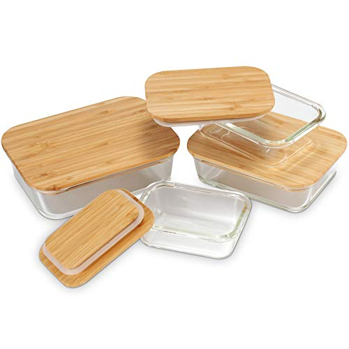 glass containers w/ bamboo lids