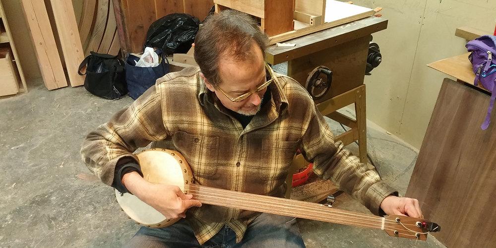 Completed gourd banjo