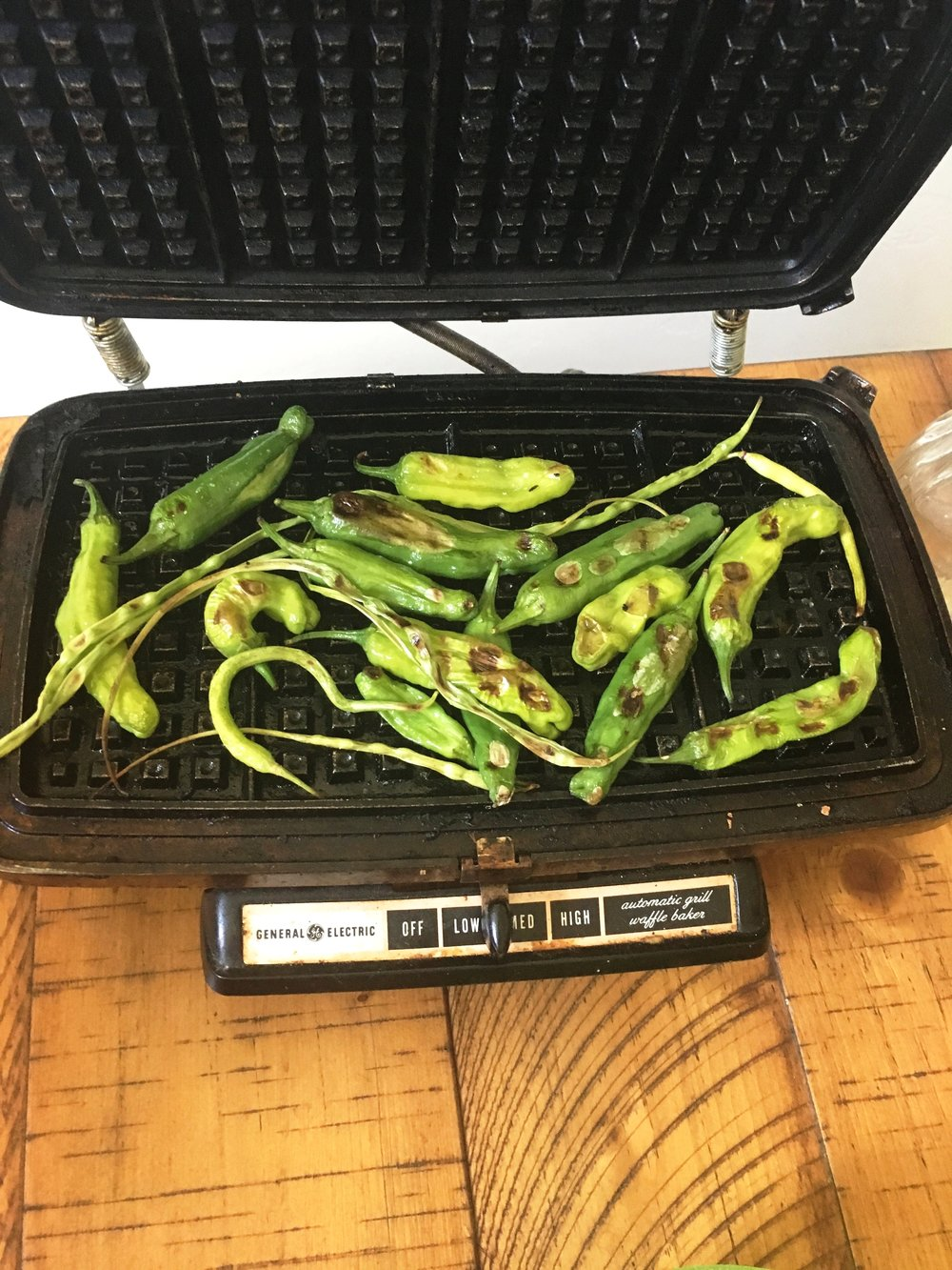 Shishtos and Radish Pods on our make-shift gril (aka waffel iron)