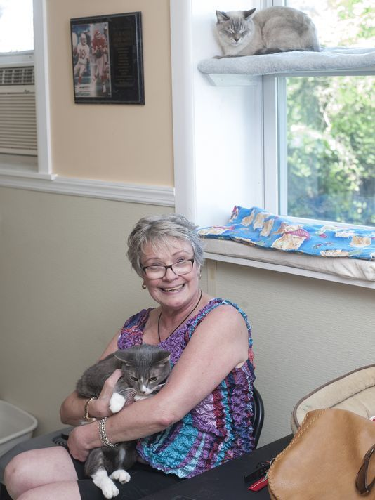 Joan Bullock holds Angel. Save the Animals Foundation is seeking a new home for Angel and other cats after owner, Charlie Beehler, was struck by a car and killed in April in Gloucester Township. (Photo: Jose F. Moreno/Staff Photographer)