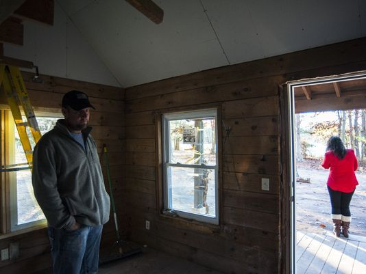 Donnie Davis stands in a cabin under construction for Operation Safe Haven in Franklin Township. (Photo: Joe Lamberti/ Staff photographer)