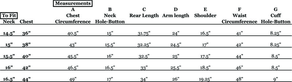 An example of a Kurtz Clothiers size chart showing on the left the measurements to which the shirt was made, and on the right measurements taken from completed shirts. The key A-G relates to the red arrows on the drawing above.