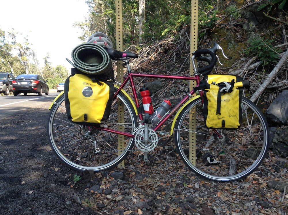 Miya the bicycle, loaded with all 4 bike bags, my tent, and my sleeping pad.