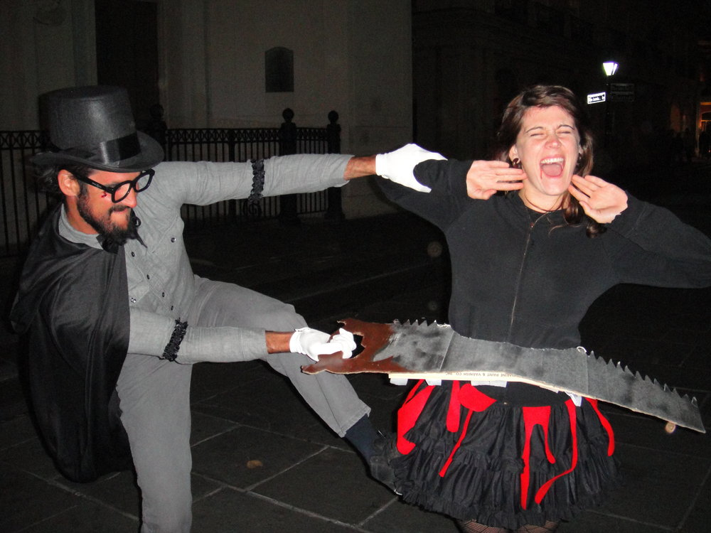 """The old """"sawing-the-woman-in-half"""" trick... gone wrong. This was actually a fellow touring cyclist and his girlfriend: He'd ridden to New Orleans from the East Coast and his girlfriend had flown down to join him, bringing these homemade costumes with her."""