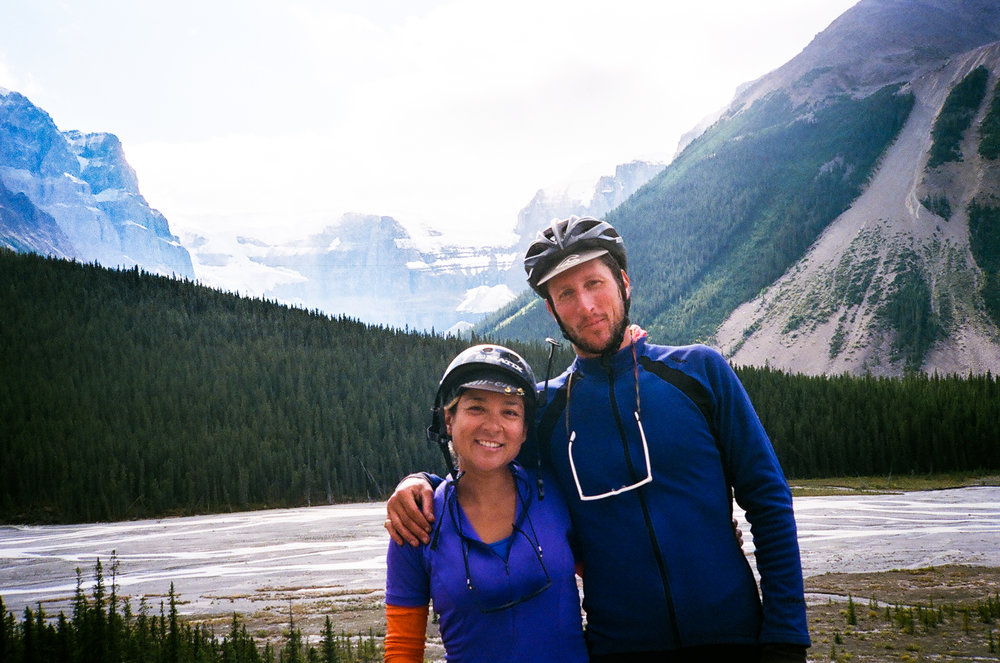 Alana and Alex on Icefields Parkway in Banff National Park.jpg