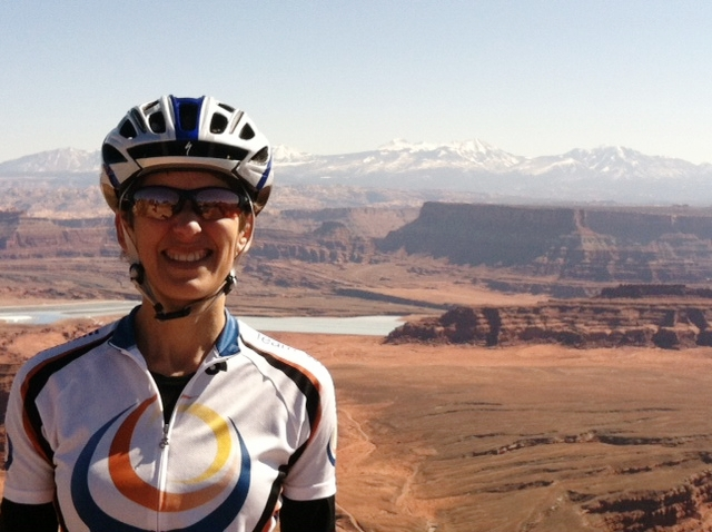 Renee cycling in Moab, Utah.