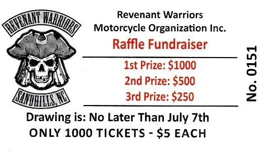 Raffle Ticket  Revenant Warriors Motorcycle Organization Inc
