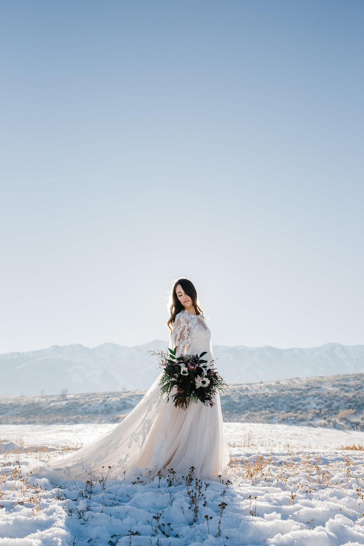 winter wedding outdoor bridals photographer
