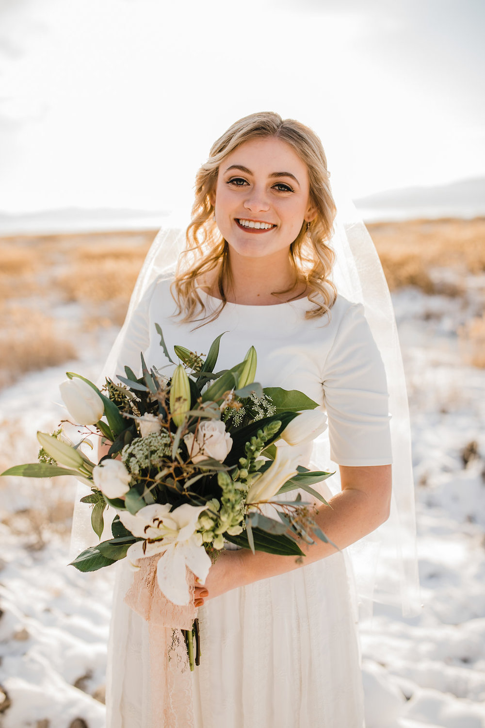 bridals wedding photographer logan utah veil back light bright