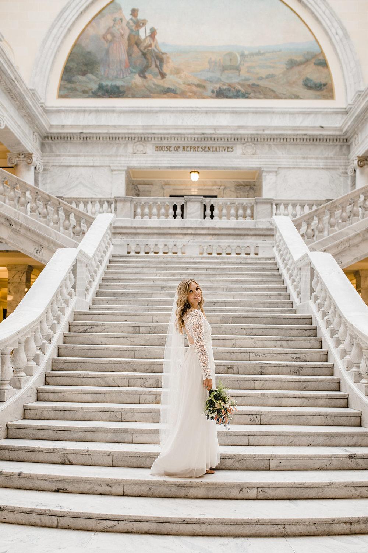 bridals utah state capitol building wedding photography beautiful bride salt lake city