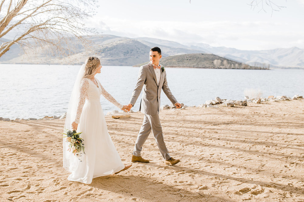 northern utah park city wedding photographer formals walking beach photos