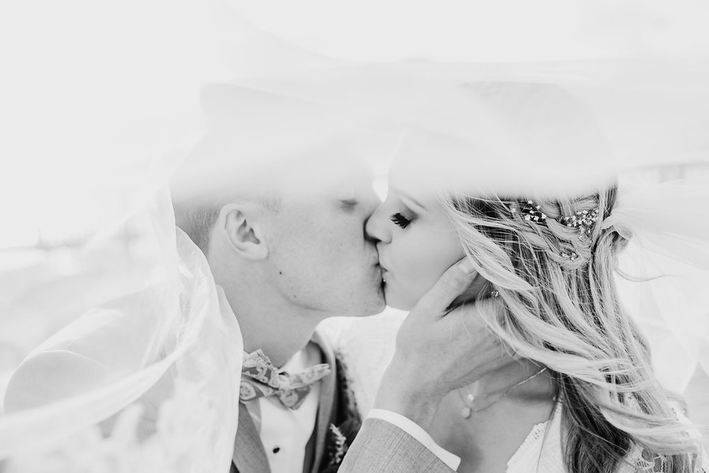 bridal veil kiss shot wedding photography park city utah black and white formals