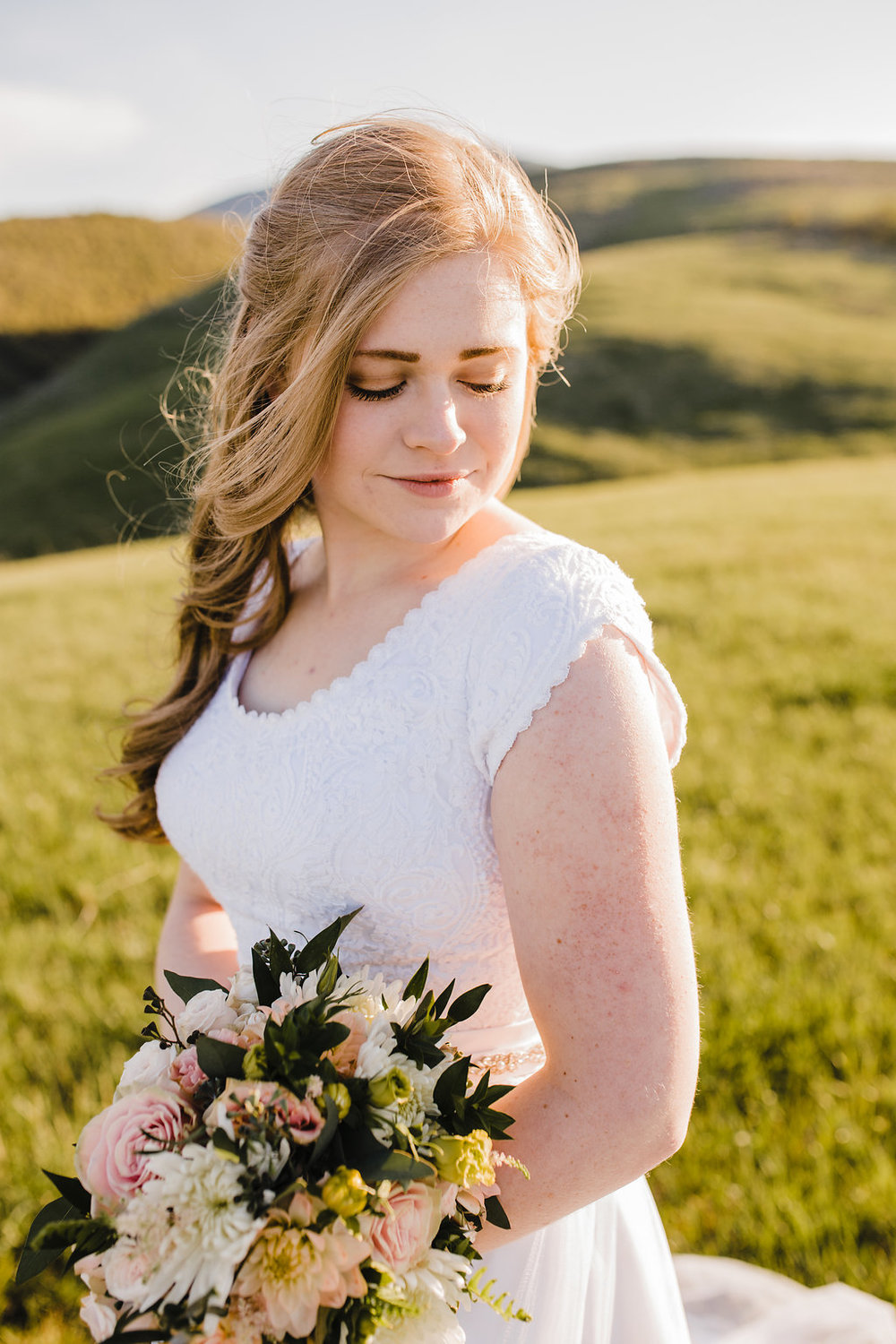 bride in cache valley utah mountain bridals session mountain formals photography cache valley utah wedding photographer calli richards