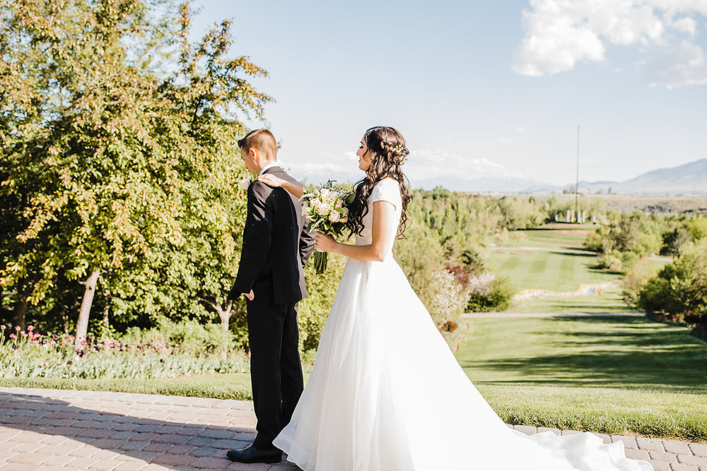 romantic first look bride and groom professional wedding photographer salt lake city utah professional photos
