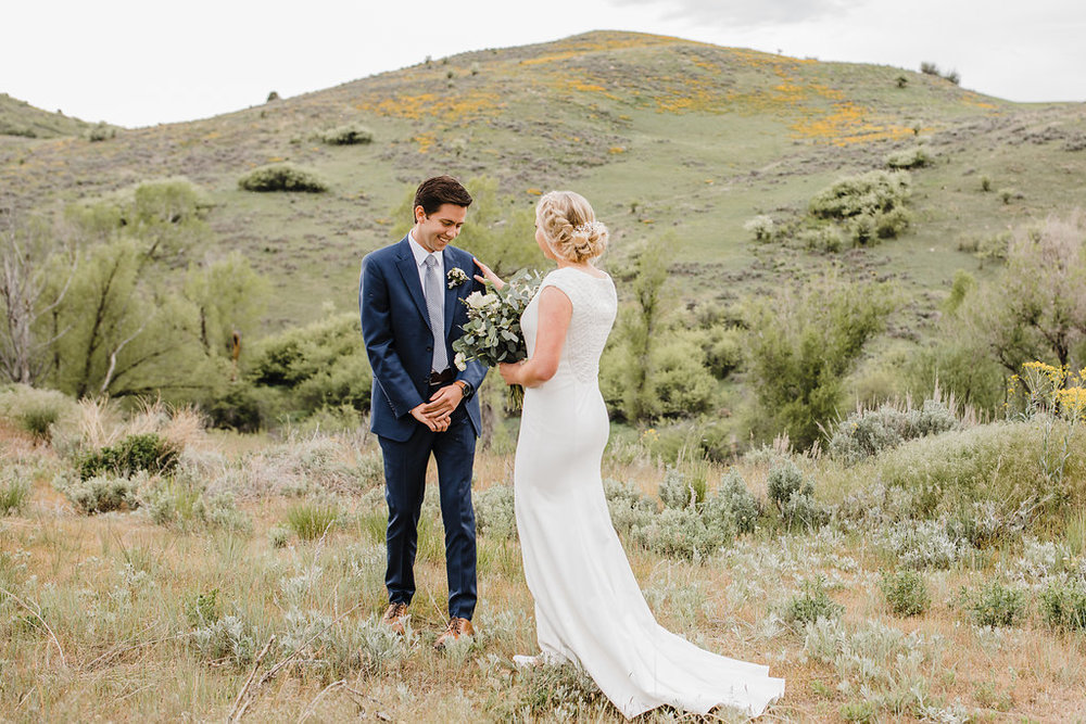 bride and groom first look wedding formals photographer logan utah