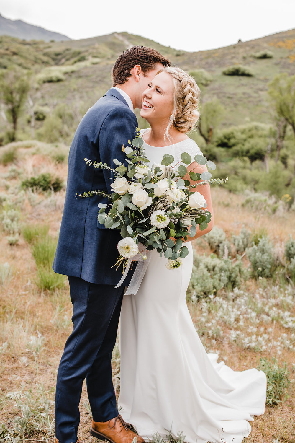 bride and groom young couple logan utah wedding photographer formals photo shoot formals photography in a mountain
