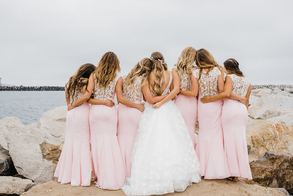 bridesmaids and bride los angeles waterfront california wedding photography