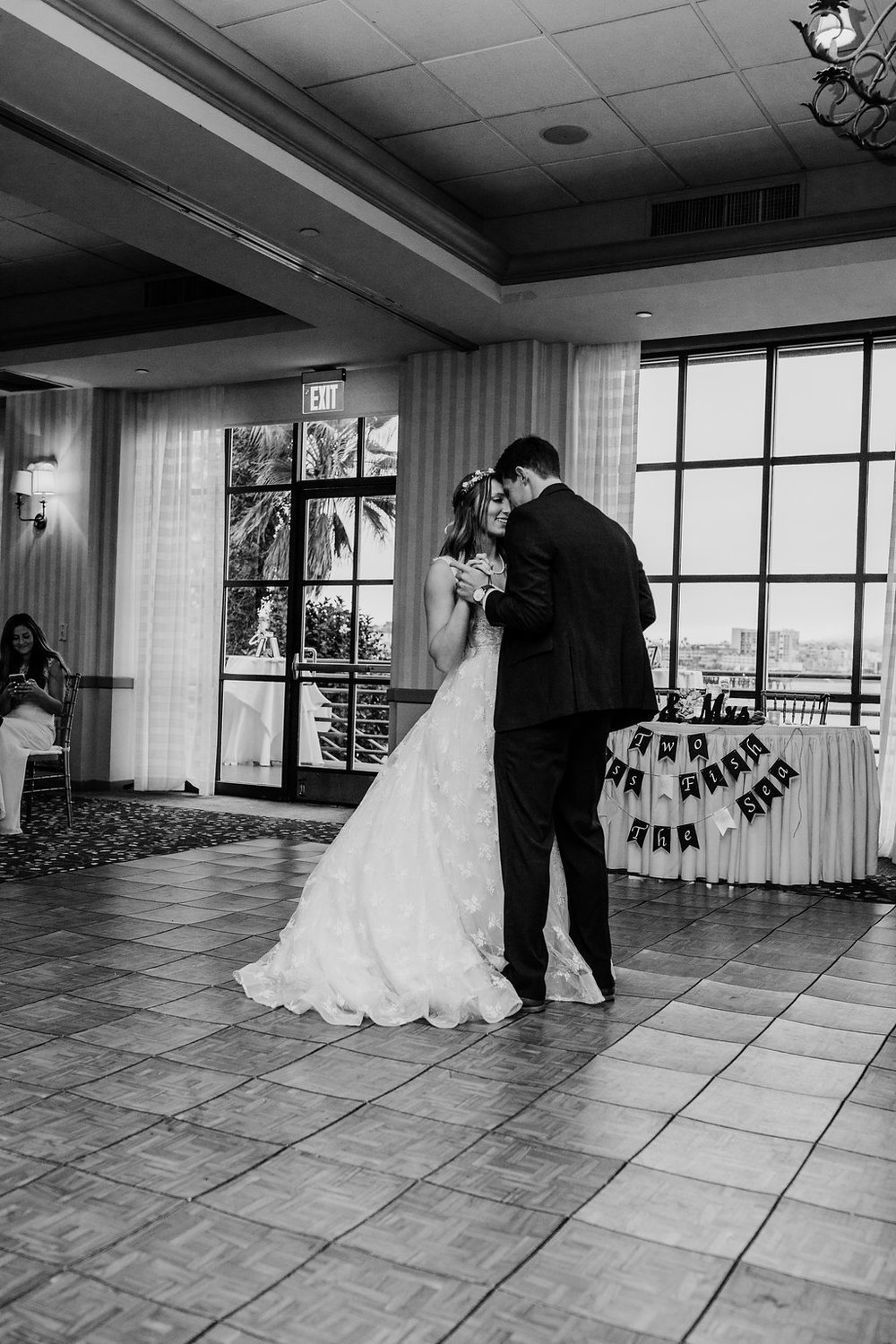 black and white wedding day photography first dance as bride and groom los angeles california wedding