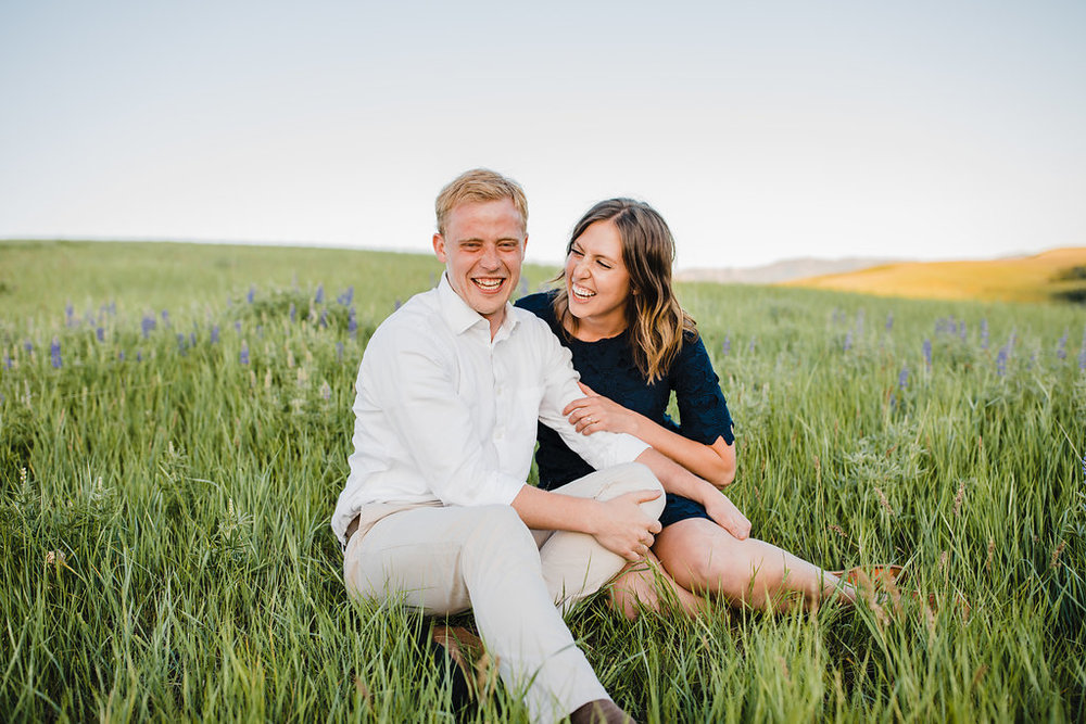 calli richards engagement photography couple in field professional wedding photographer northern utah cache valley