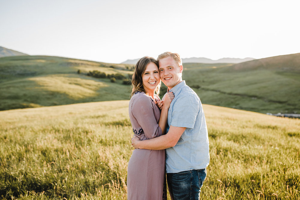 engagement photography sunset fields northern utah professional wedding photographer calli richards cache valley utah engagement photography