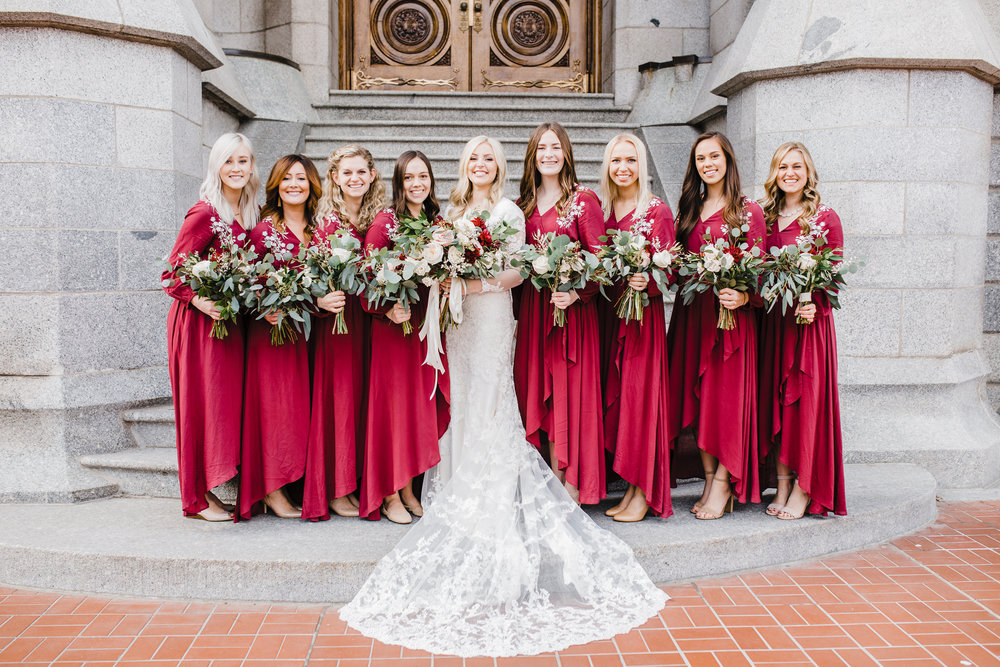 best wedding photographer in logan utah temple wedding lds salt lake city temple wedding party bridesmaids lace wedding train bohemian bouquets