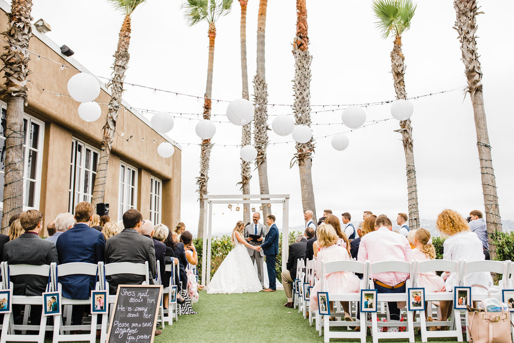 logan utah wedding photographer outdoor beach wedding wedding ceremony palm trees