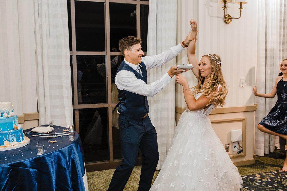 Best Professional Wedding Photographer in Aurora Colorado Wedding Dress Wedding Cake Blue Wedding Reception Sea Themed Wedding Cake