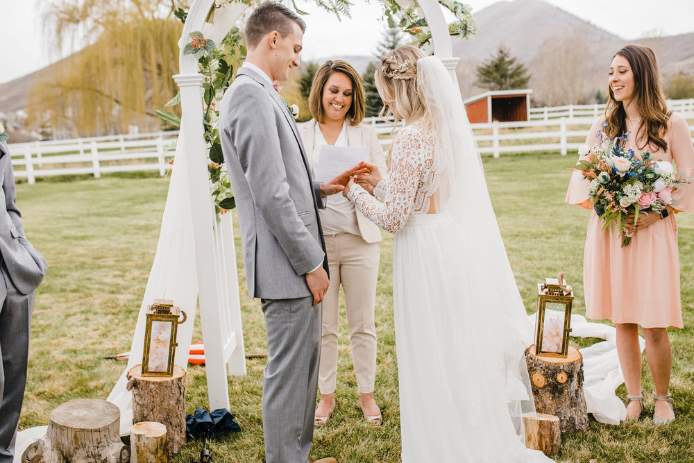 professional wedding photographer in brigham city utah outdoor wedding ceremony wedding arch shabby chic wedding vintage