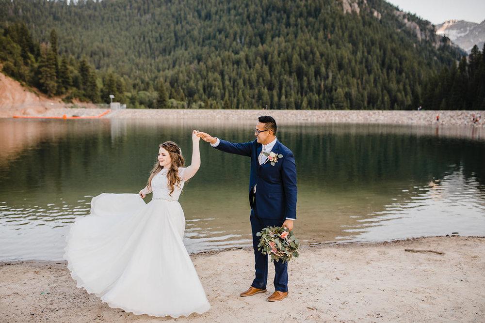 provo utah wedding photographer couple dancing lakeside formals